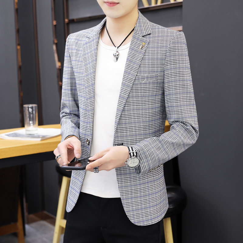 Mens casual suit coat students single western fashion spring autumn new mens Korean slim and handsome Plaid Blazer