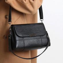 袋鼠真皮包2021新款简约百搭中年女包单肩斜挎包大容量软皮妈妈包