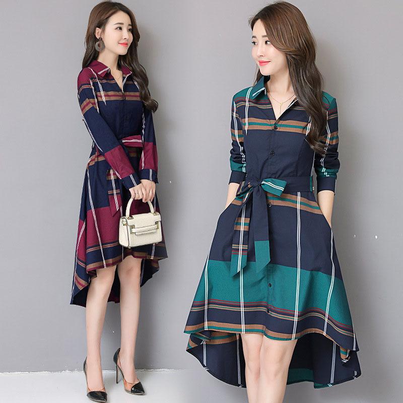 2021 spring new womens Plaid shirt skirt waist fashion irregular medium length dignified atmosphere dress