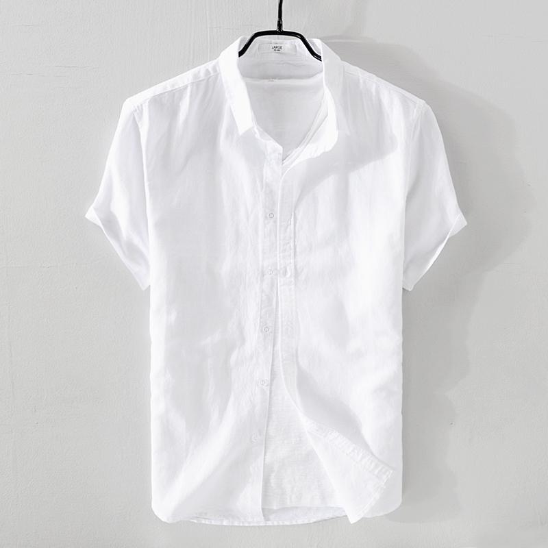 日系亚麻短袖衬衫男士薄款沙滩防晒透气棉麻衬衣修身纯色半袖衬衣限100000张券