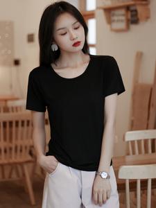 莫代尔t恤女夏季宽松短袖薄款内搭黑色显瘦上衣打底纯色圆领体恤