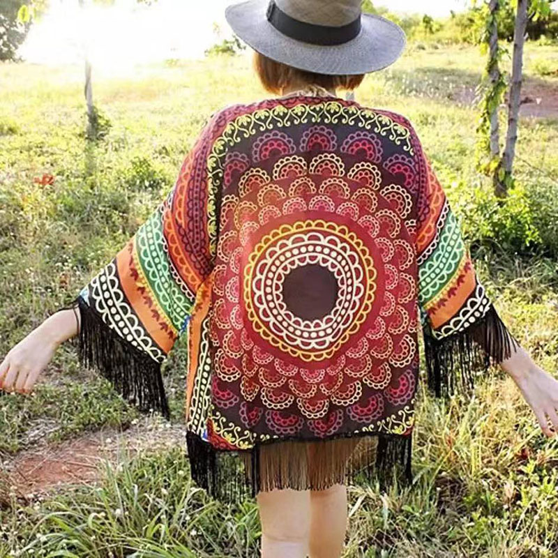 泰国穿搭 异域曼陀罗印花流苏性感开衫 夏度假海边流苏防晒衣罩衫