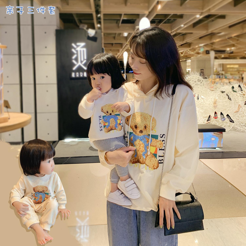 11-29新券L妈女婴童 亲子装卫衣秋装时尚洋气母女装休闲运动风婴幼儿连体衣
