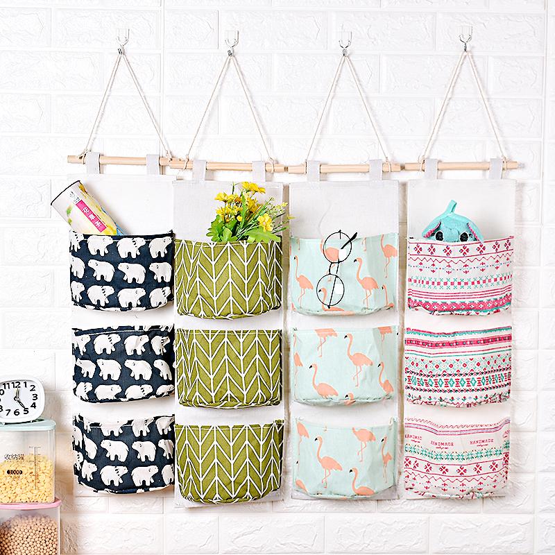 创意棉麻收纳挂袋悬挂式多层挂兜收纳袋布艺门后杂物储物袋收纳袋