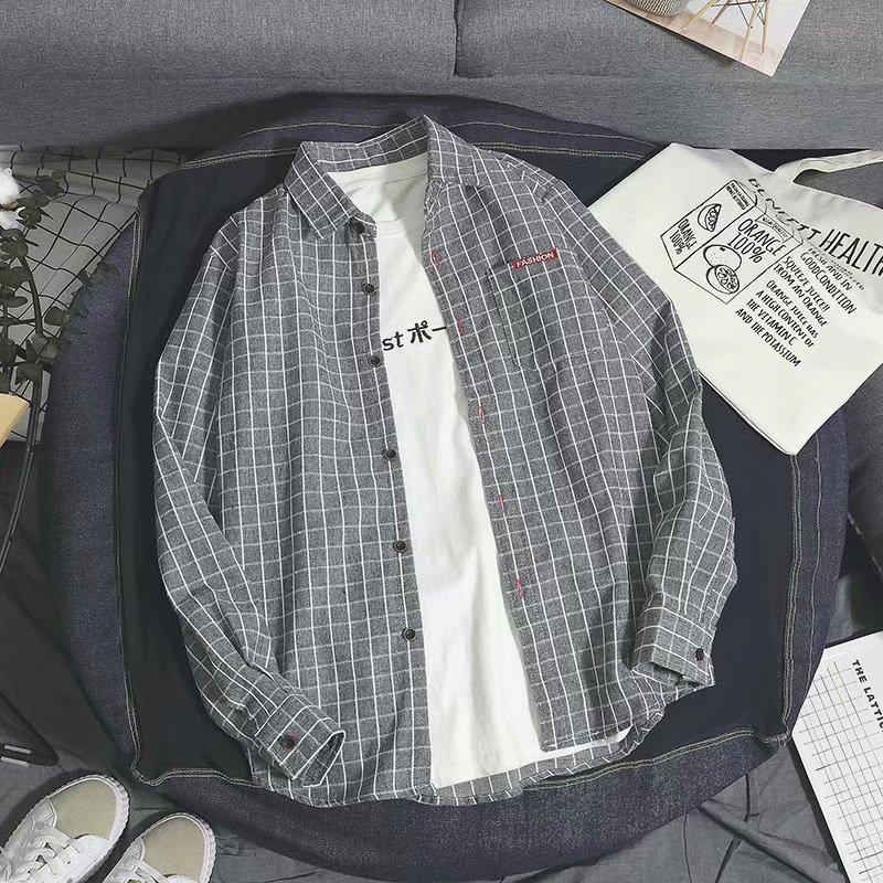 Red and Black Plaid Shirt Mens long sleeve Korean high school students handsome thin inch Shirt Youth trend versatile shirt