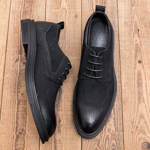 雕花布洛克皮鞋男士复古韩版英伦潮流内增高鞋商务休闲春季男鞋子