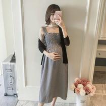 孕妇夏装套装时尚款2019新款韩版格子背心连衣裙+夏季开衫两件套