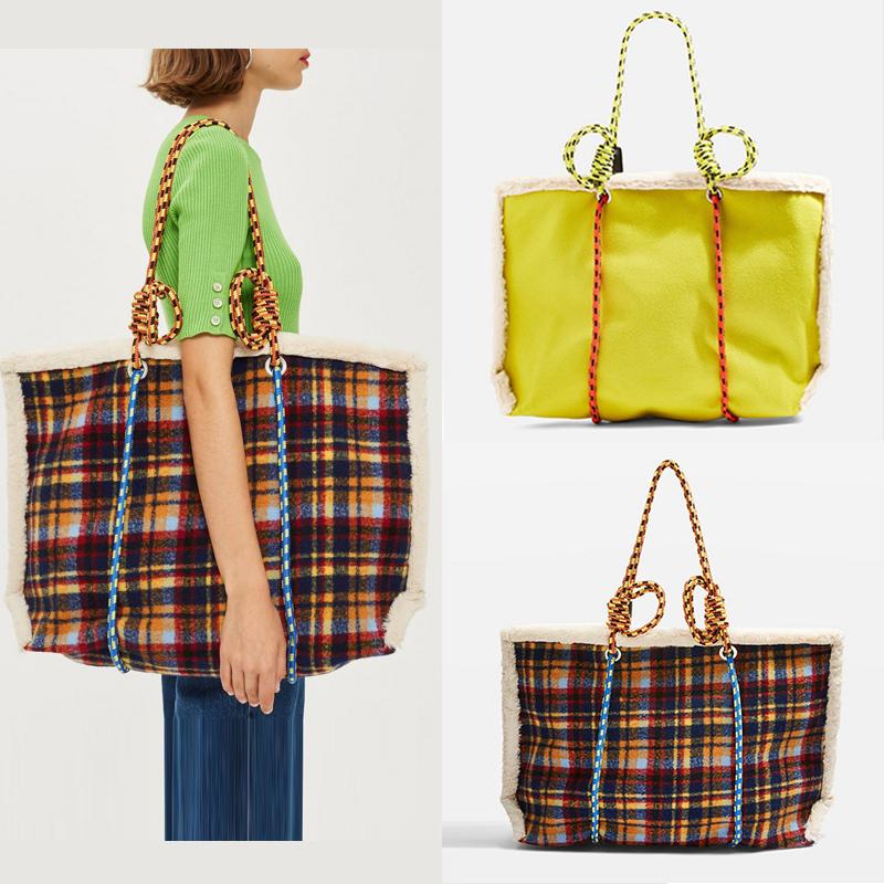 设计师款包包小众仿羊羔毛格子Tote Bag 绳结编织肩带呢子托特包