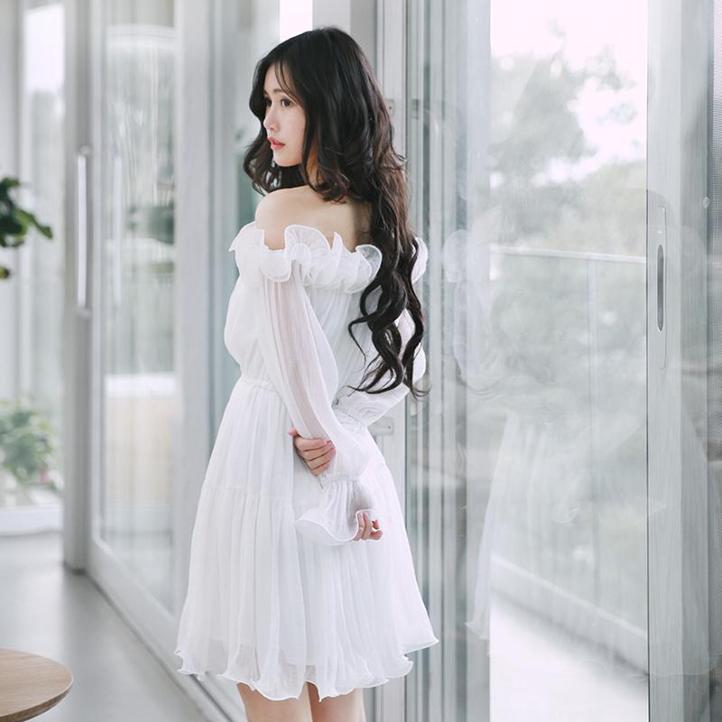 诺里 仙女裙白色甜美公主裙成年长袖一字领雪纺露肩连衣裙女夏
