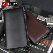 Package mail 2 discount authentic leather men's wallet ZEFER activities for head layer cowhide zipper wallet more bills