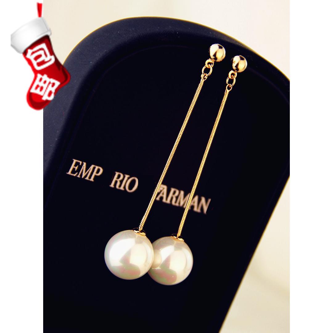 韩国纯银气质高级感长款珍珠耳环女耳钉耳夹网红防敏耳饰超仙耳坠
