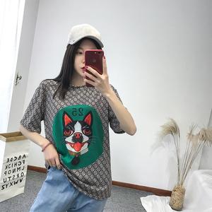 6606#实拍现货2018夏季新款印花狗头图案弹力T恤圆领套头短袖上衣
