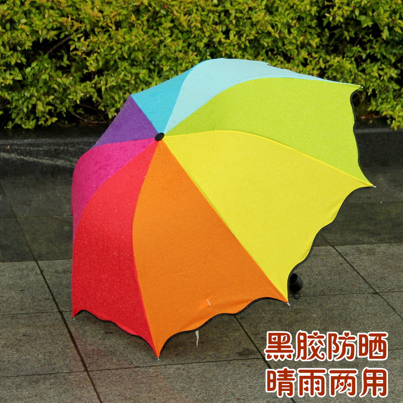 創意防紫外線男女雙人三摺疊防曬遮陽定製廣告太陽彩虹兩用晴雨傘