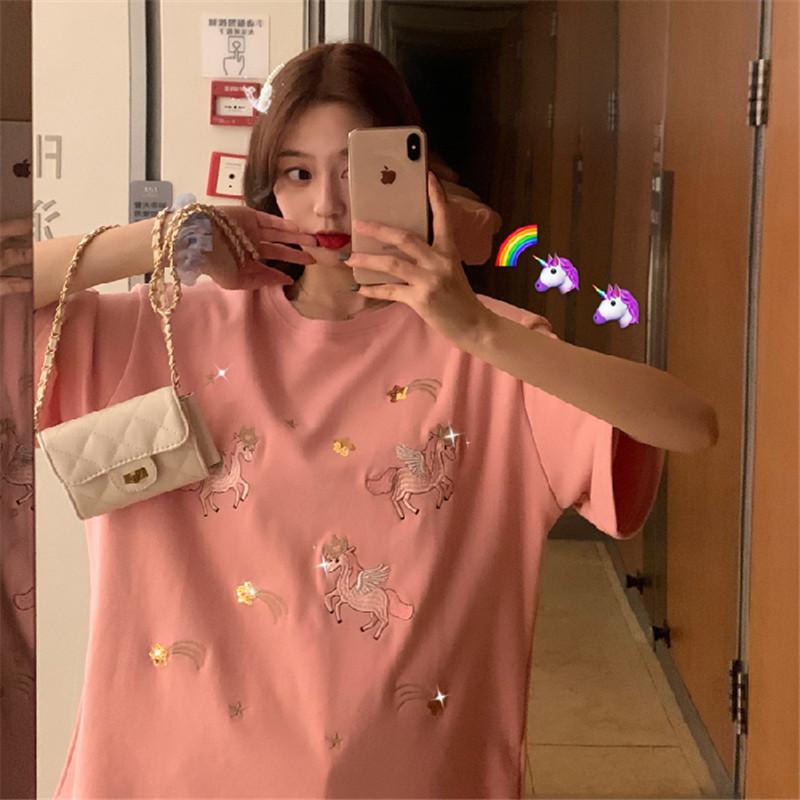 6535 cotton heavy industry Sequin embroidery short sleeve T-shirt womens summer wear Korean new student half sleeve T-shirt womens wear