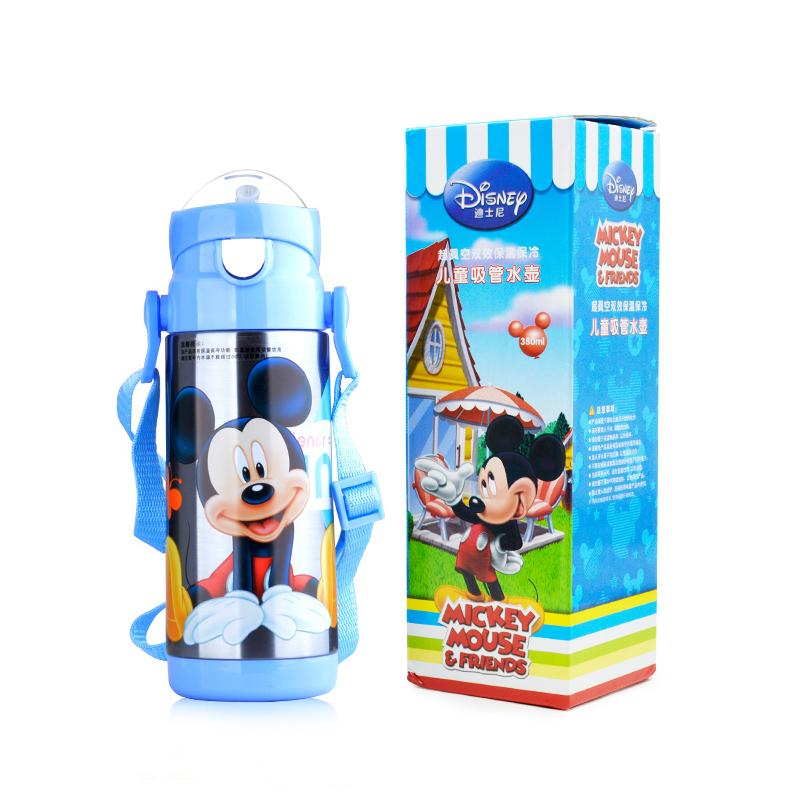 迪士尼 兒童保溫杯 帶吸管寶寶背帶 米奇防漏幼兒飲水杯吸管杯