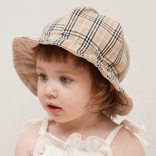 韓國進口兒童遮陽帽嬰兒帽子夏季薄款漁夫帽女童防曬帽男童太陽帽