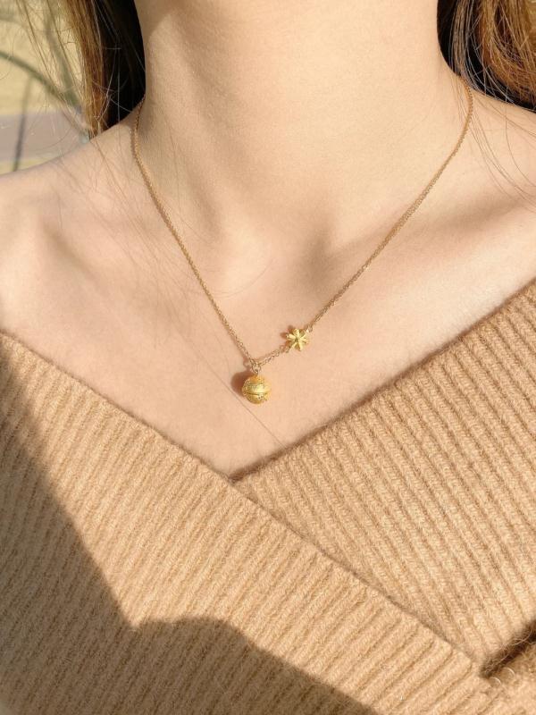 专柜同款铃铛雪花项链3D硬金锁骨链潮流吊坠不掉色饰品礼物女款