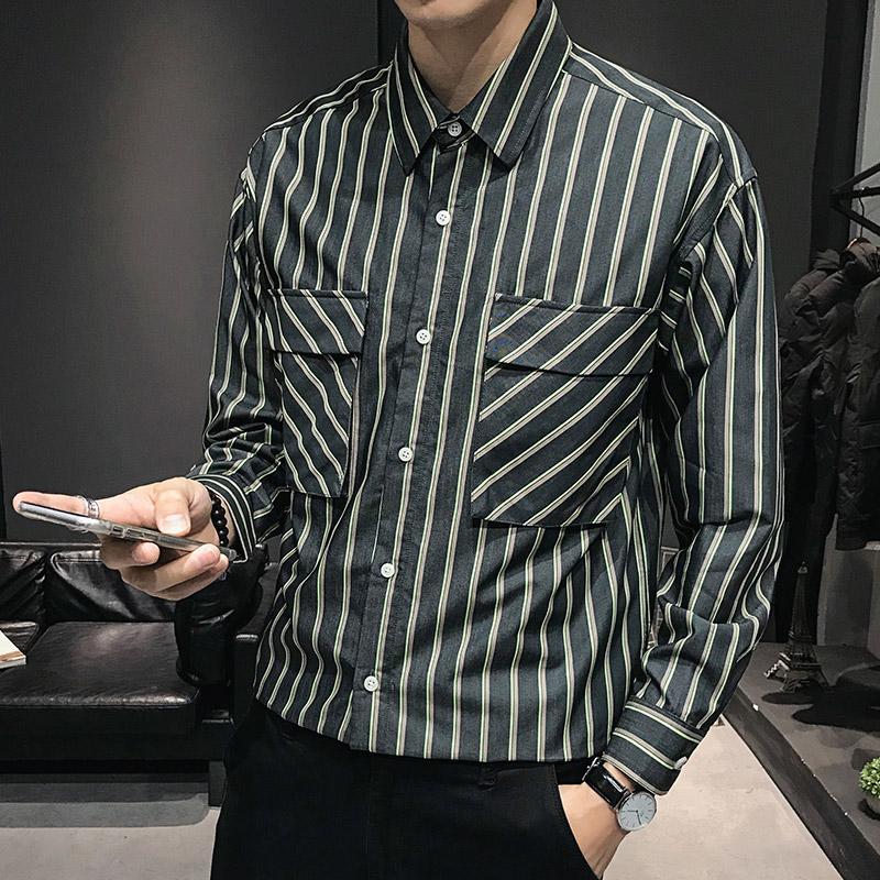 65%棉35%涤纶 秋装新款英伦长袖衬衫男商务休闲条纹衬衫G70-P80