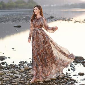 马尔代夫沙滩裙2020新款女大码豹纹长袖连衣裙海滩裙度假