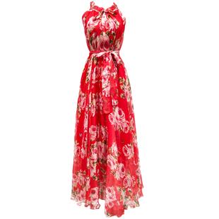 印花超長連衣裙大擺裙春夏到腳踝仙女超仙吊帶掛脖長裙及踝沙灘裙