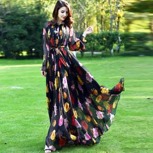 2020女装新款夏长袖雪纺到脚踝大码大摆沙滩裙子超长款连衣裙长裙