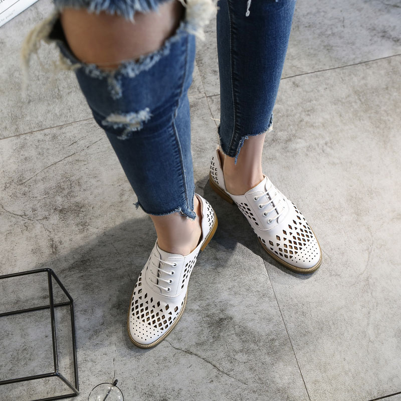 Special clearance British style openwork breathable single shoes chic small leather shoes womens lace up flat sole womens shoes spring and summer Oxford Shoes