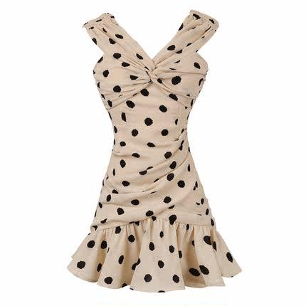一字肩雪纺吊带夏性感很仙的波点裙