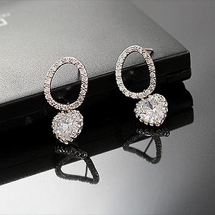 OKBA Korea imported 925 silver elegant female gift hollow oval diamond peach heart diamond pendant earrings