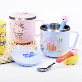 儿童水杯家用304不锈钢带盖可爱卡通小孩宝宝幼儿园喝水口杯防摔
