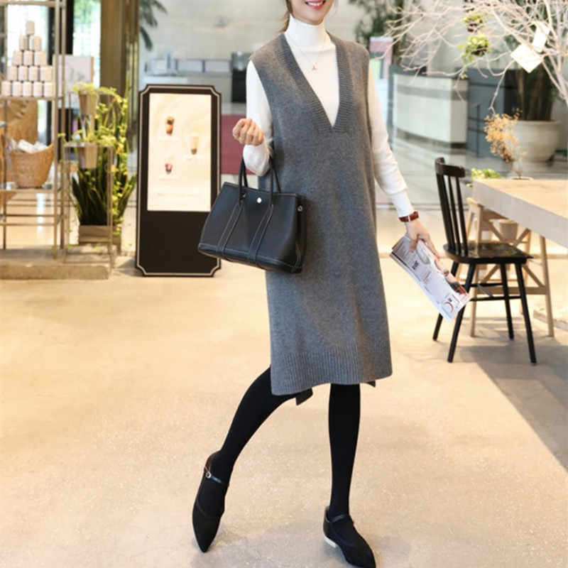 New loose and thin medium long V-neck knitted vest womens vest dress autumn large sleeveless wool dress thick