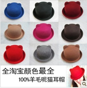 Japanese ultra-pure woolen Orecchiette Meng stereo flanging small fresh nickname Ms. skullcaps small hat parent-child cap