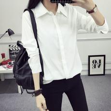 春秋冬新款加绒加厚白衬衫女长袖韩范宽松职业正装学生衬衣打底衫