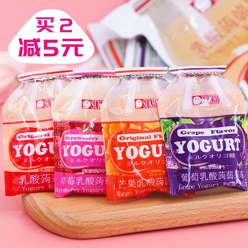 台湾SUKHI蒟蒻果冻果汁布丁芒果草莓葡萄水蜜桃乳酸菌味网红零食
