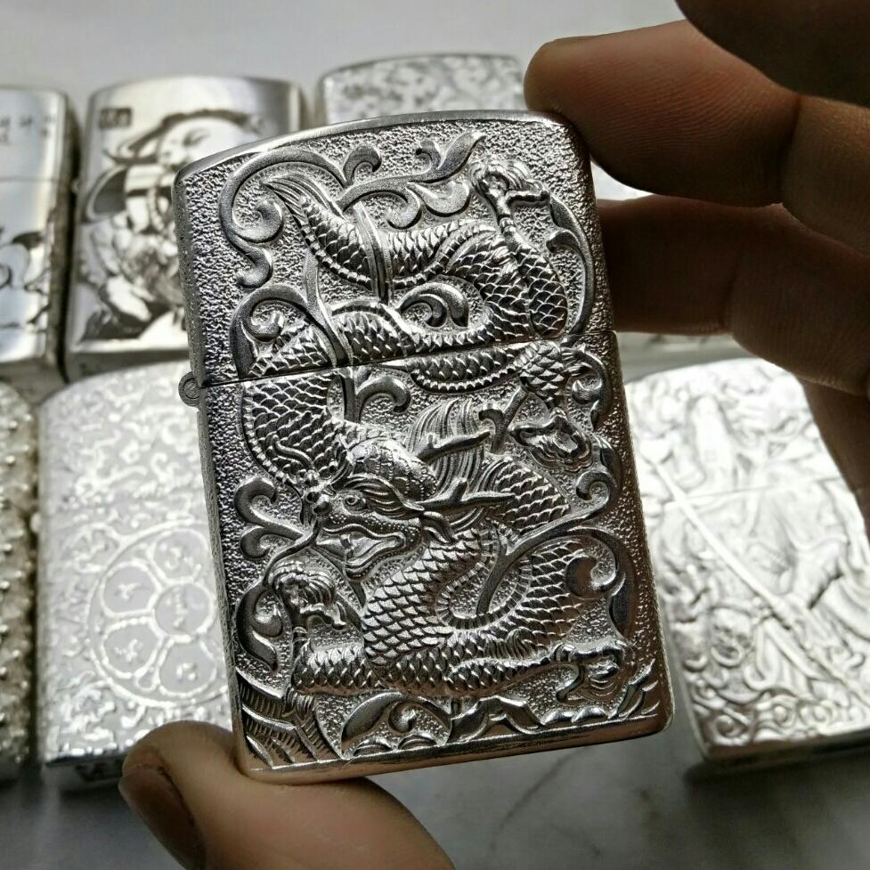 银都龙纯银打火机999纯手工外壳正版刻字机芯男士生日礼物