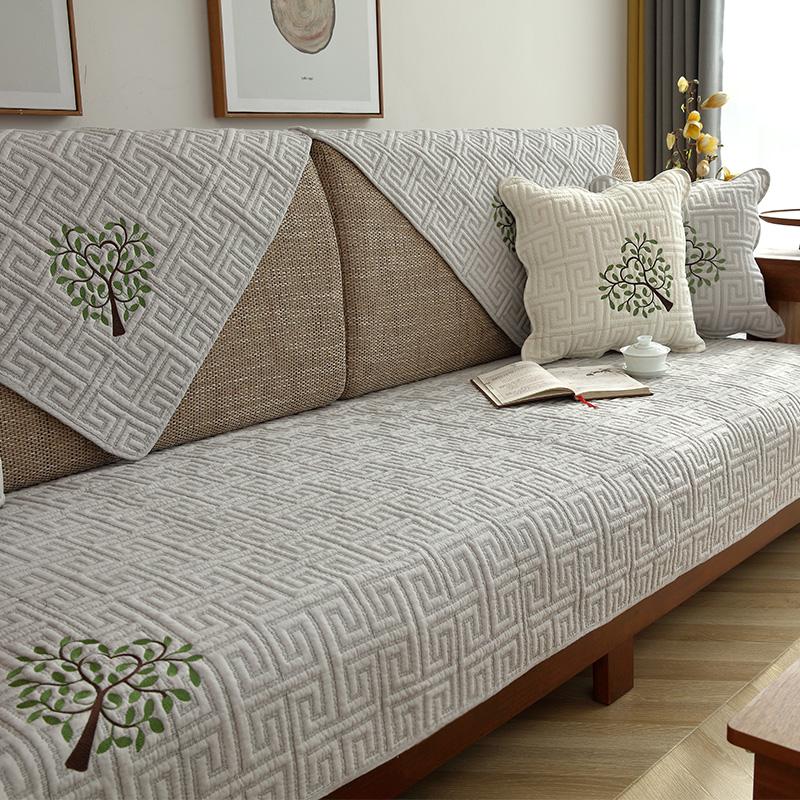 新中式实木沙发垫四季通用布艺防滑客厅坐垫子简约沙发套罩巾靠背券后45.00元