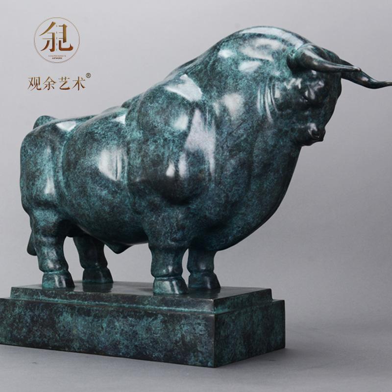 观余作品《牛器》纯青铜牛气冲天招财艺术客厅酒柜家居装饰品摆件