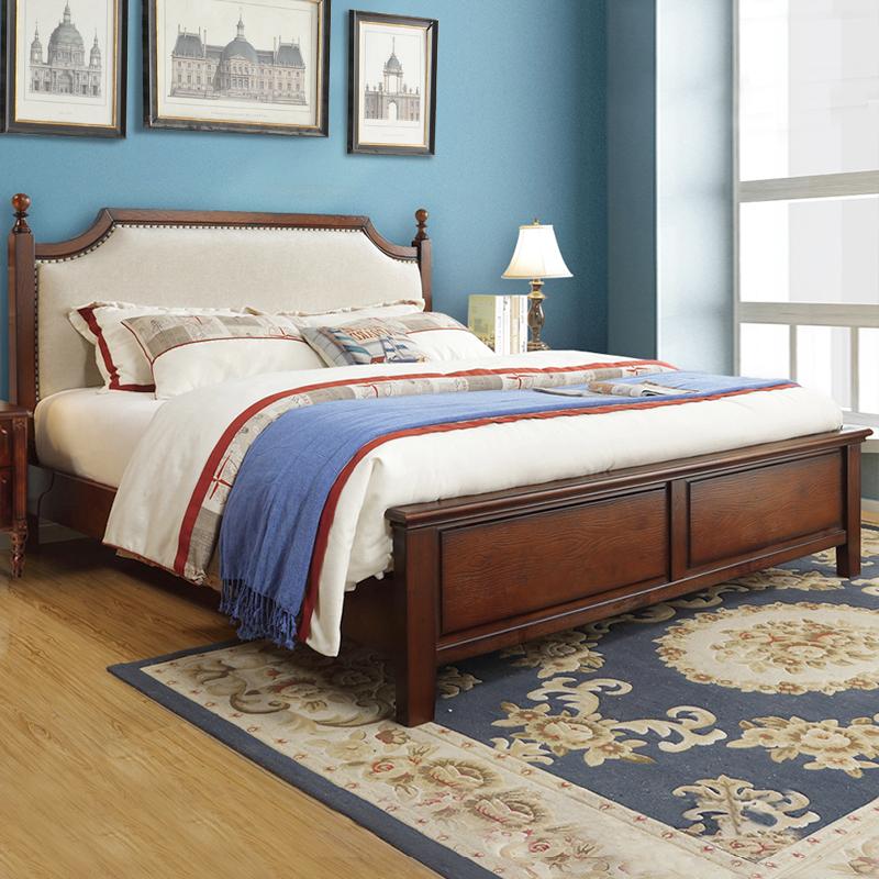 小美式床实木 软包靠背床 原木简约轻奢布艺木床 加厚静音高箱床