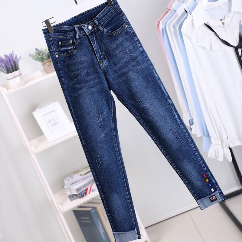 2018新款大码女装显瘦大腿粗的女生裤子胖妹妹最爱牛仔裤胖mm秋装