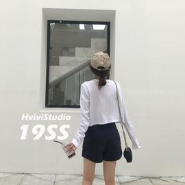 白色长袖短款t恤女2020春夏新款纯棉宽松百搭薄款网红防晒上衣潮