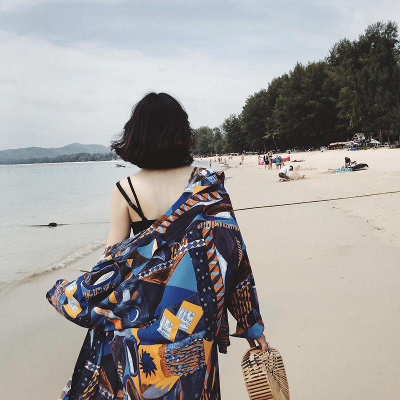 2018夏季新款雪纺衬衫女中长款印花长袖宽松薄款防晒开衫复古上衣