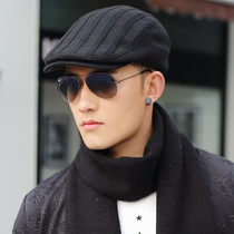 Hat Man Winter Korean edition tide Hundred Black Cap autumn winter knitted wool hat beret casual forward hat