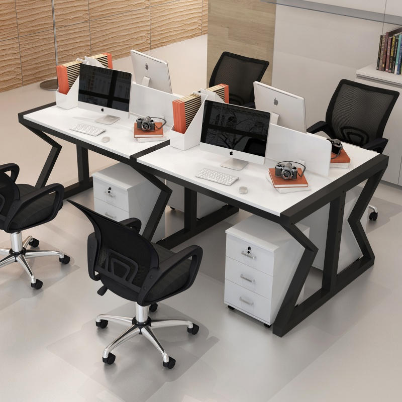 Office desk and chair combination staff station four or six seats simple modern 2 / 4 / 6 screen card seat desk furniture