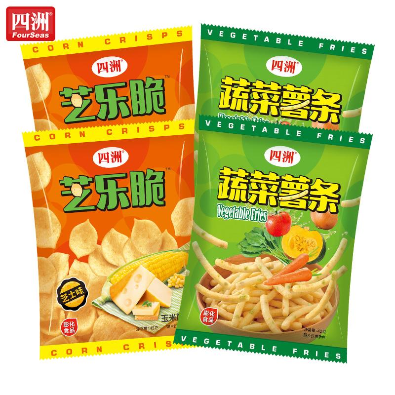 四洲蔬菜薯条+芝乐脆 组合装膨化食品蔬菜味休闲办公室小吃零食