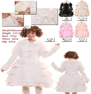 Flash pretty Princess & amp; Lolita Lolita winter palace cake layer fur collar cashmere coat (large size can be set)