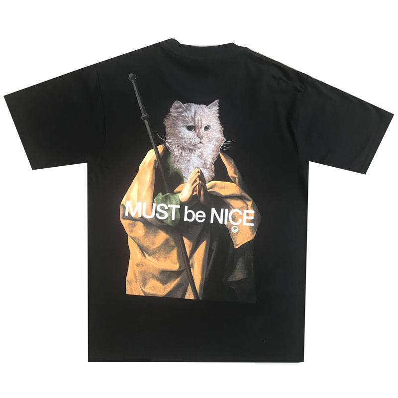 美国潮牌RIPNDIP 贱猫中指猫短袖T恤 男女情侣款 NERMUS 祈祷僧侣