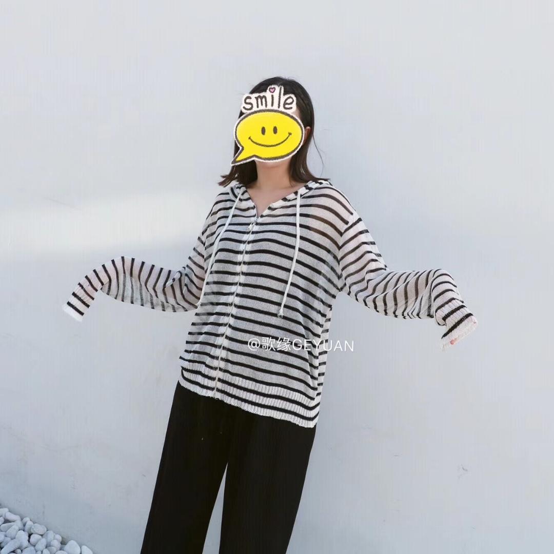 英伦2018秋季新款时尚百搭宽松连帽黑白条纹开衫拉链超薄透视衫女