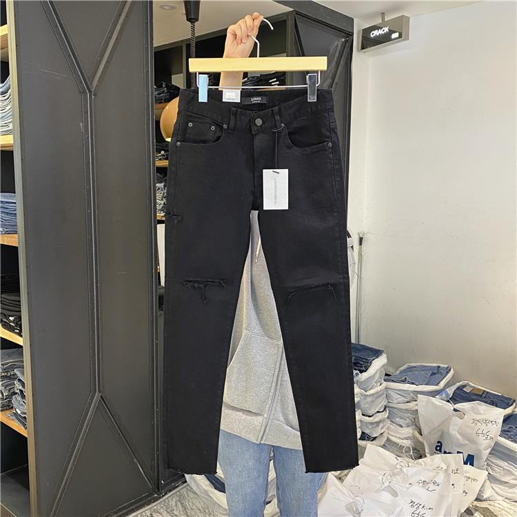 东大门韩国男装代购直播CRACK破洞垫布拉丝毛边FW修身小脚牛仔裤