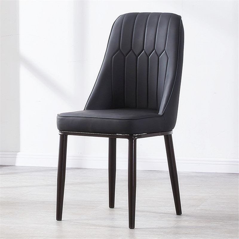 Simple modern Nordic Light luxury dining chair creative leisure lazy European black and white single iron PU leather chair