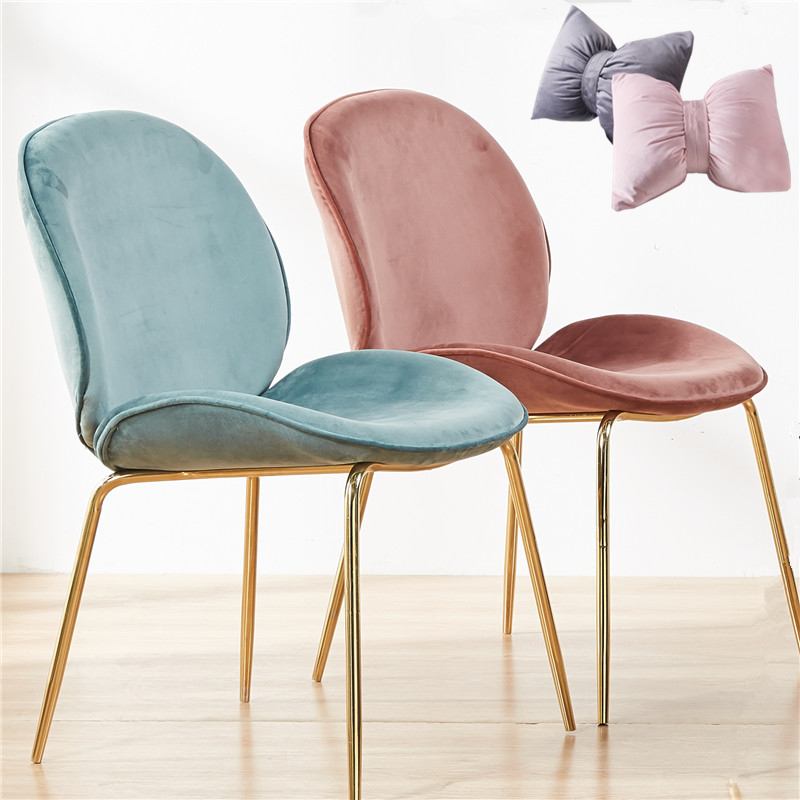 Nordic iron beetle dining chair leisure restaurant dining chair light luxury dining chair metal postmodern home back chair
