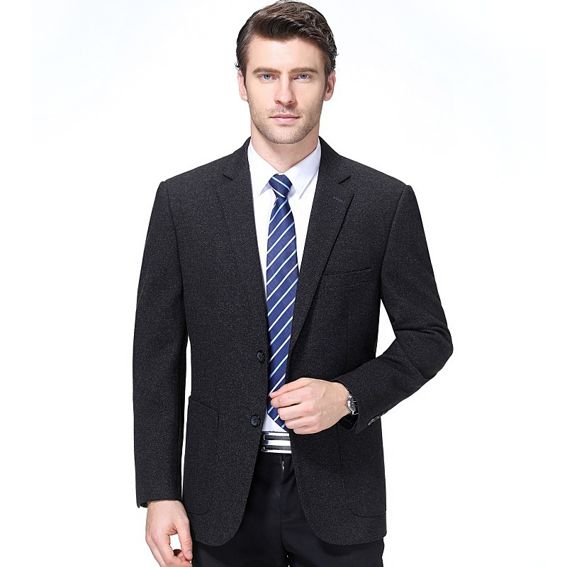 Crazy men spring and autumn middle-aged slim fit Korean small suit coat mens casual suit dad long sleeve side slit